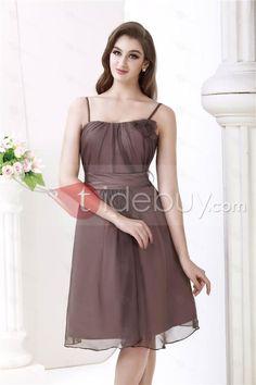 Elegant Ruched Empire Waist Spaghetti Straps Knee-Length Roxy's Bridesmaid Dress