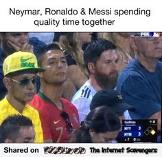 Messi, Cristiano and Neymar Bad resolution Memes Neymar, Fifa Memes, Funny Football Memes, Funny Sports Memes, Sports Humor, Funny Memes, Football Comedy, Soccer Humor, Soccer Stuff