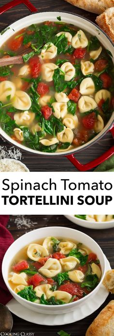 Frische Spinat-Tomaten-Knoblauch-Tortellini-Suppe via Jaclyn {Cooking Classy} - # Check more at tomaten. Spinach And Tomato Tortellini, Crock Pot Tortellini, Spinach Tortellini Soup, Tortellini Recipes, Spinach Soup, Tomato Salad, Tomato Soup, Pasta Salad, Healthy Soup Recipes
