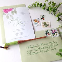Watercolor floral and pointed pen script in luscious pink and fresh green for a rehearsal dinner in a garden setting. Calligraphy Letters, Fresh Green, Rehearsal Dinners, Floral Watercolor, Script, Angel, Lettering, Learning, Garden