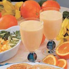 Yogurt Breakfast Drink 2c vanilla yogurt 2c peach yogurt 1/2c frozen orange juice concentrate 1/2c milk 2c ice