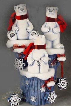Ceramic Bisque Ready to Paint Three Polar Bears on a Winter Stump