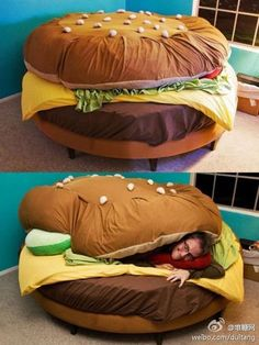 Hamburger bed - I think this would be SO FUN for the kids!