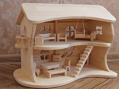 Wooden Toy Cars, Wooden Dolls, Wood Toys, Dollhouse Kits, Wooden Dollhouse, Dollhouse Furniture, Woodworking Plans, Woodworking Projects, Wooden Castle
