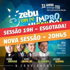 Zebu em pé Improvisando! 31 de janeiro • 20h45m • Teatro Experimental de Uberaba  Maiores informações: zebuempe@gmail.com • 34 9 9293-8969  #zebuempe #standup #standupcomedy #show #magica #interacao #imperdivel #sucesso #uberaba #minasgerais #brasil