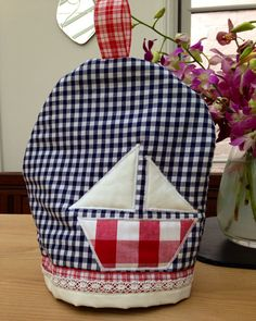 Items similar to Blue, White and Red Nautical Sail Boat Tea Cosy on Etsy Cosy, Nautical, Sewing Projects, Blue And White, Creative, Red, Handmade, Vintage, Navy Marine