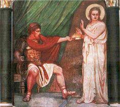 O Imperador, por sua vez, impressionou-se com a beleza da jovem. Como Filomena se recusasse a casar, porque havia eleito o próprio Senhor Jesus Cristo para seu esposo, o tirano ordenou, primeiramente, que a colocassem num cárcere e a flagelassem sangrentamente.