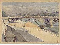 Sablière Port du Louvre, en arrière plan le Pont des Arts, l'Institut et la Cité : St Germain l'Auxerrois, Louvre. Dessin (aquarelle) / L. Ottin, 1883 ; 25 x 35,6 cm