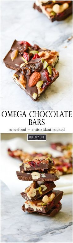 These Omega Chocolate Bars are the perfect healthy chocolate pick me up. Loaded with Omega-3 nutrients and tons of antioxidants this is a candy bar you can feel good about eating and enjoying. - A Healthy Life For Me