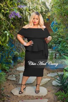 2e0a6b1e985ee 35% Off Sale - Final Sale Plus Size 2-Piece Off the Shoulder Belted Peplum  Top and Skirt Set in Black Light Scuba