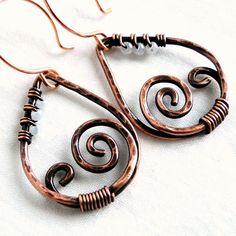 Antiqued Copper Teardrop Earrings Hammered by KariLuJewelry, $23.50