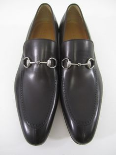 e5d95329340 NIB AUTH GUCCI Men s Dark Brown Leather Horsebit Wing Tip Loafers Sz 11 at  www.