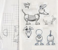 Concept Art, Slinky Dog, Toy Story, 1995