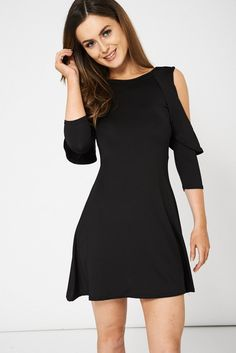 Black Layered Cold Shoulder Dress Oop's We have done it again.  Another hit in the making from First Couture Fashions :) Size 10 - 16 Price £20.00 http://www.firstcouturefashion.co.uk/#a_aid=Fornalski2
