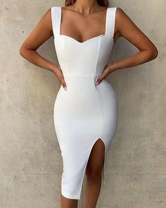 Solid Thick Strap Slit Bodycon Dress Elegant White Half Sleeve Lace Round Neck Homecoming Dresses, Belt Ankle Knee Prom Dress on sale Elegant Dresses, Sexy Dresses, Short Dresses, Fashion Dresses, Formal Dresses, Summer Dresses, White Work Dresses, White Fitted Dress, Wedding Dresses