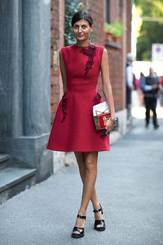 Milan Fashion Week Spring 2014 Giovanna Battaglia. Brights in street style, high neckline knee length dress similar to some of my designs for collection