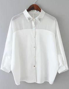 Buy White Lapel Rhinestone Sheer Loose Blouse from abaday.com, FREE shipping Worldwide - Fashion Clothing, Latest Street Fashion At Abaday.com
