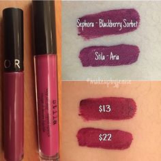 Makeup dupe! Sephora cream lip stain in blackberry sorbet & stila aria.