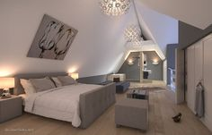 Maison chambre parentale sous les combles on pinterest for Amenagement chambre mansardee