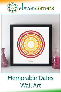 Custom geometric artwork created from any three special dates (e.g. met / engaged / married). Below the artwork, there is colour coded text to identify each date, and there's room for a special message too. The date is easy to read from the artwork - just count the arrow heads on the rings. A unique personalised anniversary gift idea. Special anniversary present. #elevencorners #anniversarygift #geometric #wallart #personalisedprints #giftidea Personalized Anniversary Gifts, Personalised Gifts For Him, Personalised Prints, Personalized Wall Art, Geometric Artwork, Abstract Art, Family Wall Art, Collage Techniques, Music Artwork