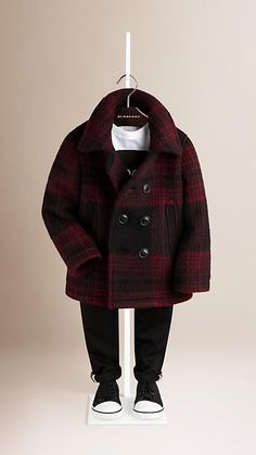 Burberry Parade Red Check Wool Mohair Pea Coat - Check pea coat in a wool-mohair blend. Double-breasted closure, jet pockets, back vent. Discover the childrenswear collection at Burberry.com