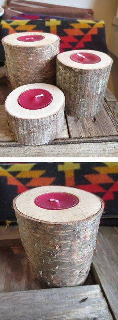 Small Fallen Tree Tea Light Candle Holder - could make these with a fallen tree from the yard.