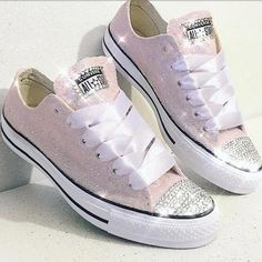 Women's Sparkly Glitter Converse All Star Sneakers Light Pink Bridal wedding . Women's Sparkly Glitter Converse All Star Sneakers Light Pink Bridal wedding shoes - Glitter Shoe Co Light Blue Wedding Shoes, Glitter Wedding Shoes, Converse Wedding Shoes, Bridal Wedding Shoes, Wedding Boots, Glitter Shoes, Prom Shoes, Bling Converse, Glitter Lipstick