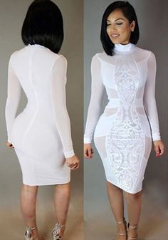 Buy 2016 New Women Party Dress Sheer Patchwork Long Sleeve Mock Neck Lace  Midi Dress at Wish - Shopping Made Fun f7c897ed7