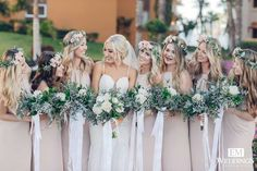 Make your bridesmaids smile! Keep their dresses neutral and add lots of floral details! @CaboFlowersandCakes #weddingflowers Photo credit: @emphotography