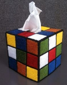 Rubik's Cube Tissue Box - NEEDLEWORK