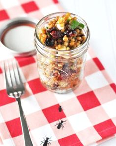 Wheat Berry Apple Salad in a Jar - Mason jar recipes will shake the everyday ingredients and turn them into fun and exciting new ways to prepare meals and drinks. For more interesting posts, go to http://glamshelf.com