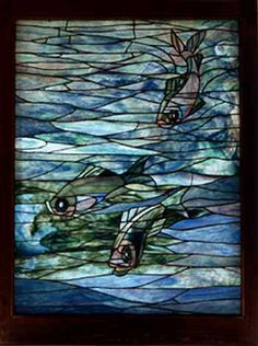 Louis Comfort Tiffany, American, 1848-1933, Window Panel with Swimming Fish, c. 1890, Leaded glass, oak frame, 48 1/2 x 36 1/2 x 2 1/2 inches. The Mark Twain House & Museum, Hartford, CT)