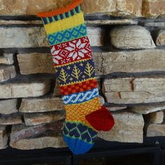 Custom Knit Christmas Stocking Hand Knit Personalized Christmas Stocking Fair Isle Knit with Red Snowflakes Gold Trees Plum Hearts (85.00 USD) by WarmedbytheHearth