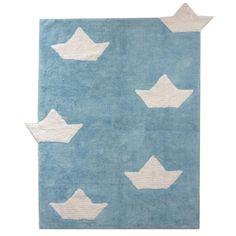 Teppich Washable Baumwolle Barquitos hellblau 120x160 von Lorena Cana