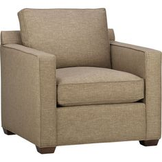 Davis is a contemporary compact armchair designed to sit big in small spaces. Pair it with its companion stand-alone or sectional pieces in a sophisticated tonal taupe weave, all with firm but plump support. Understated hardwood legs have a rich hickory stain. Also available in leather. Sectional also available.
