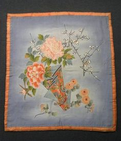 This is a vintage Fukusa with flower noshi(tied gift wrapping paper) with flowers such as 'Botan'(peony), 'Ume' (plum blossom) and 'Kiku'(chrysanthemum), which is dyed and embroidered