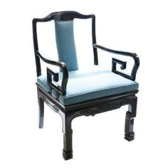 Asian-Style Black And Blue Armchair by Chairish | Chairish