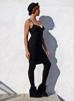 Vintage Little Black Dress LBD Open Back Dress Faux by tomacrafts