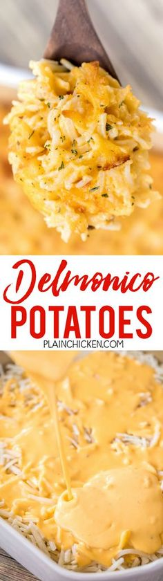 Delmonico Potatoes - the most AMAZING potatoes EVER!!! They are also super easy to make. You can make them ahead of time and refrigerate or freeze for later.