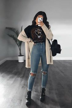 Tomboy Outfits, Curvy Outfits, Winter Fashion Outfits, Mode Outfits, Grunge Outfits, Cute Casual Outfits, Grunge Fashion, Outfits For Teens, Stylish Outfits