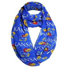 Fashion Scarves NCAA Kansas Jayhawks Solid Blue
