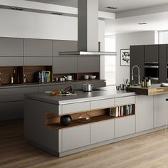 Contemporary style kitchen designs are among the methods to go. You do not require a complicated kitchen so it will be stick out, just some unique designs that can make your kitchen area the envy of the neighbors. Luxury Kitchen Design, Kitchen Room Design, Contemporary Kitchen Design, Luxury Kitchens, Home Decor Kitchen, Interior Design Kitchen, New Kitchen, Home Kitchens, Contemporary Wallpaper