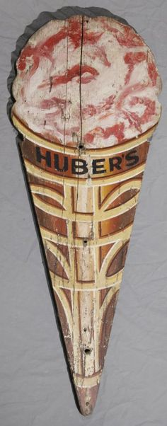 Carved and Polychromed Wood Huber's Ice Cream Sign, early 20th c.,