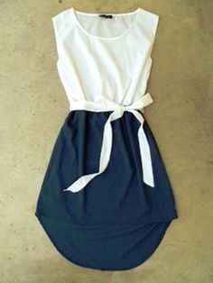 Idea DIY - white and navy dress