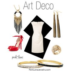 """Art Deco"" by parklanejewelry on Polyvore.  I have these pieces....I LOVE them and can't wear them without getting compliments."