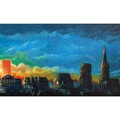 Skyline Leeuwarden in opdracht. Acrylverf op doek 120 bij 40 cm. Digitaal ontwerp in photoshop, afbeelding 7.  ______________________    #leeuwarden #skyline #painting #acrylicpainting #canvas #leeuwarden2018 #koepelkerk #rabobank #achmeatoren #gerechtshof #blokhuispoort #dewaag #oldehove #stbonifatiuskerk #usmem #cambuur #culturelehoofdstad2018