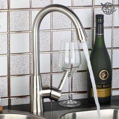 New Economic Brushed Nickel Minimalist Kitchen Faucet