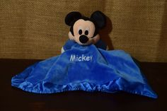 "Blue Disney Mickey Mouse 12""x14"" Lovey nunu security blanket rattle crinkle Soft #Disney"