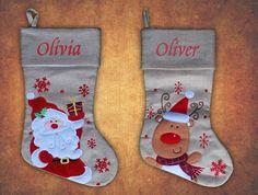 Personalised Luxury Embroidered  Stocking Sack Santa Reindeer Hessain Christmas    eBay Embroidered Stockings, Santa And Reindeer, Luxury, Christmas, Ebay, Xmas, Weihnachten, Yule, Jul