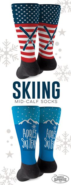 Enjoy watching the USA Ski Team wearing these comfy patriotic ski socks. Or after a long day of skiing, unwind in these fun Après Ski Team socks. Many more styles to choose from, makes a great gift.